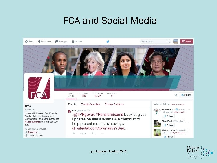 FCA and Social Media (c) Paginator Limited 2015