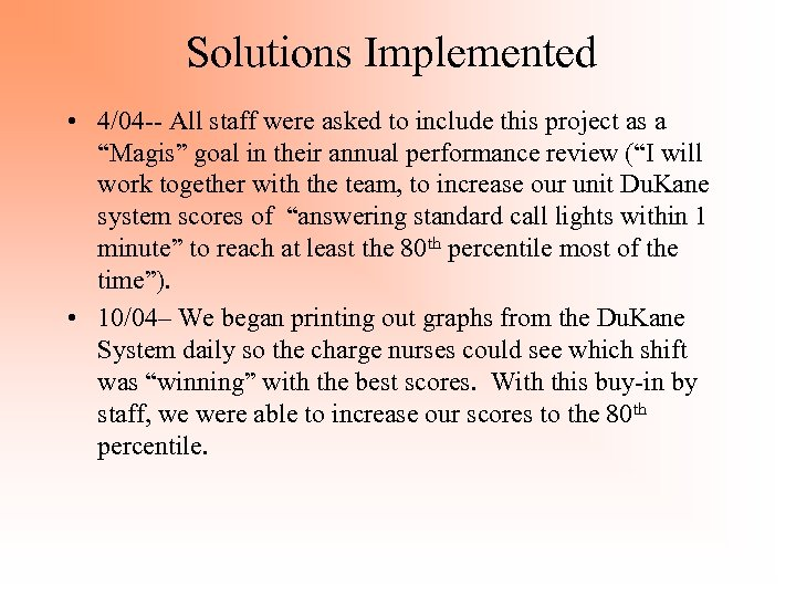 Solutions Implemented • 4/04 -- All staff were asked to include this project as