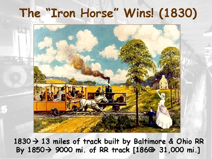 """The """"Iron Horse"""" Wins! (1830) 1830 13 miles of track built by Baltimore &"""