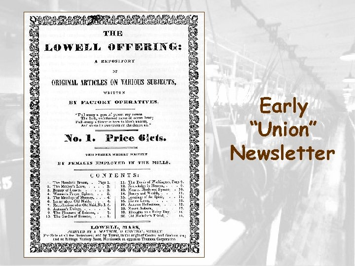 """Early """"Union"""" Newsletter"""
