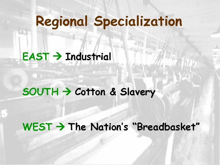 """Regional Specialization EAST Industrial SOUTH Cotton & Slavery WEST The Nation's """"Breadbasket"""""""