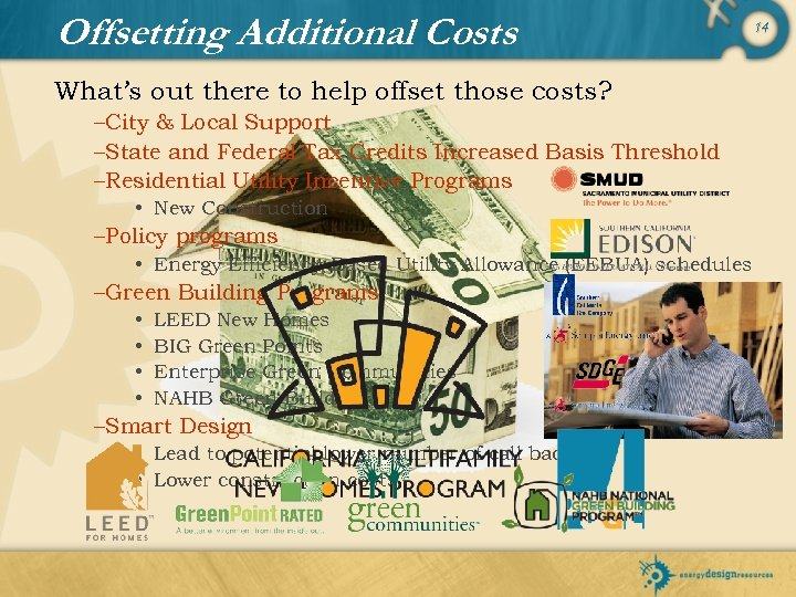 Offsetting Additional Costs What's out there to help offset those costs? –City & Local