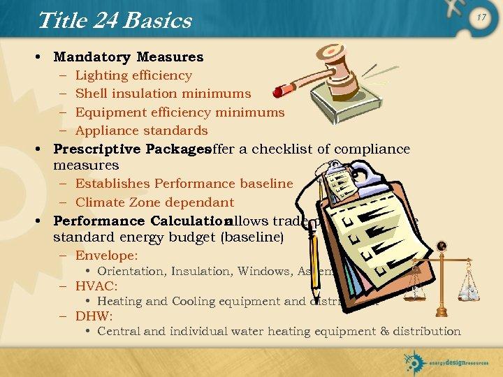 Title 24 Basics • Mandatory Measures – Lighting efficiency – Shell insulation minimums –
