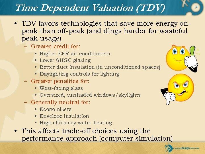 Time Dependent Valuation (TDV) • TDV favors technologies that save more energy onpeak than
