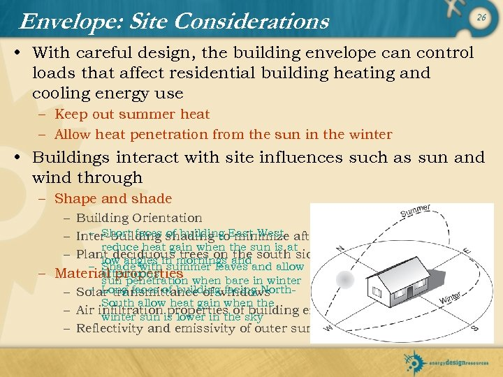 Envelope: Site Considerations 26 • With careful design, the building envelope can control loads
