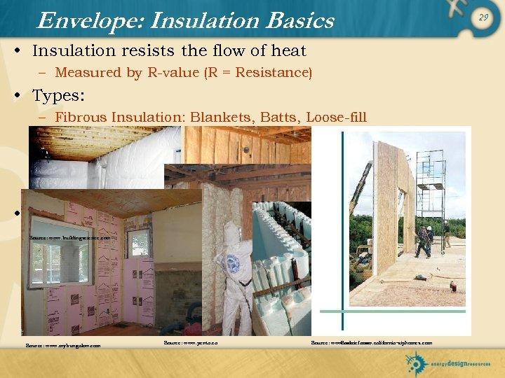 Envelope: Insulation Basics • Insulation resists the flow of heat – Measured by R-value