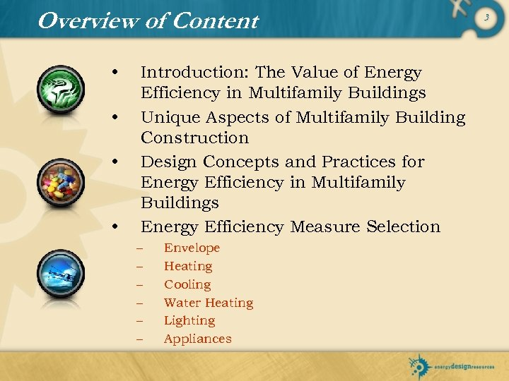 Overview of Content • • Introduction: The Value of Energy Efficiency in Multifamily Buildings