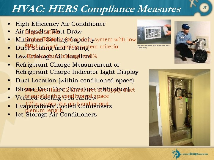 HVAC: HERS Compliance Measures • • • High Efficiency Air Conditioner Air Higher SEER