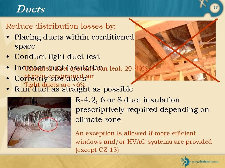Ducts 39 Reduce distribution losses by: • Placing ducts within conditioned space • Conduct