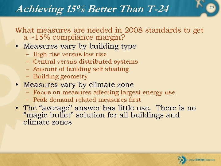 Achieving 15% Better Than T-24 What measures are needed in 2008 standards to get