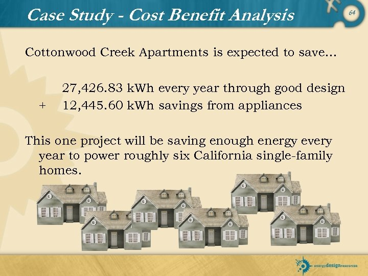 Case Study - Cost Benefit Analysis Cottonwood Creek Apartments is expected to save… +