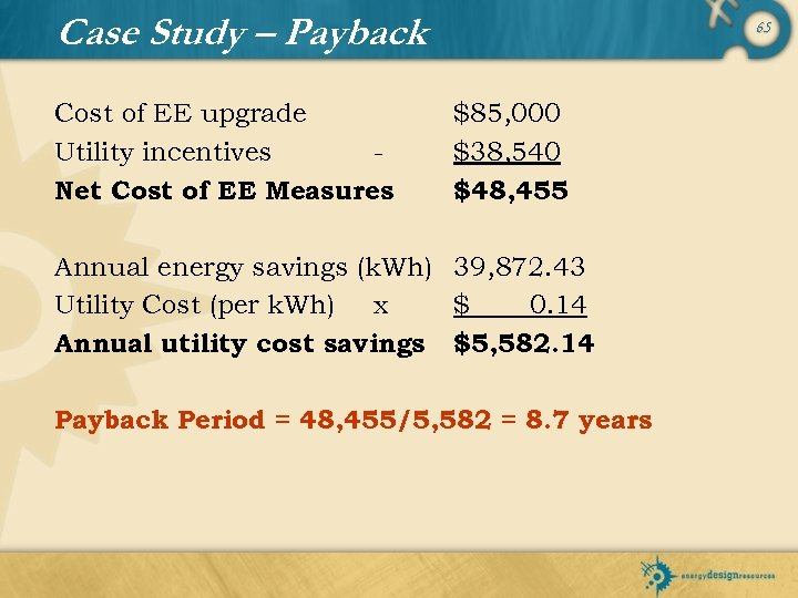 Case Study – Payback Cost of EE upgrade Utility incentives Net Cost of EE
