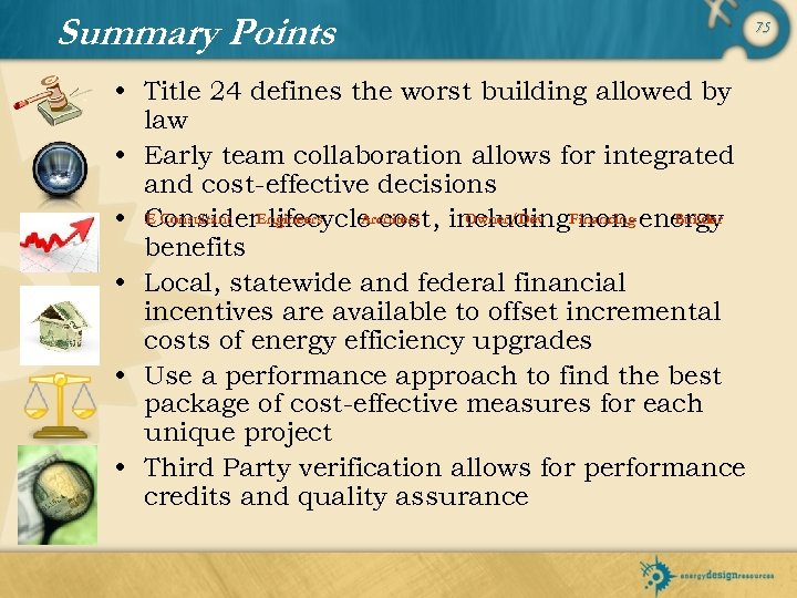 Summary Points • Title 24 defines the worst building allowed by law • Early