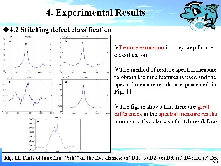 4. Experimental Results u 4. 2 Stitching defect classification ØFeature extraction is a key