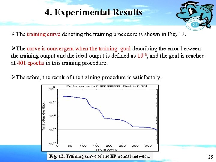 4. Experimental Results ØThe training curve denoting the training procedure is shown in Fig.
