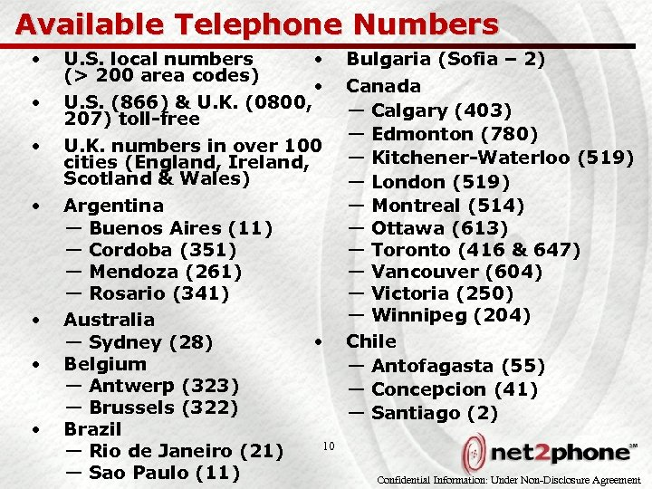 Available Telephone Numbers • • U. S. local numbers • (> 200 area codes)