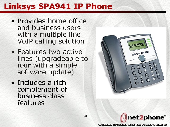 Linksys SPA 941 IP Phone • Provides home office and business users with a