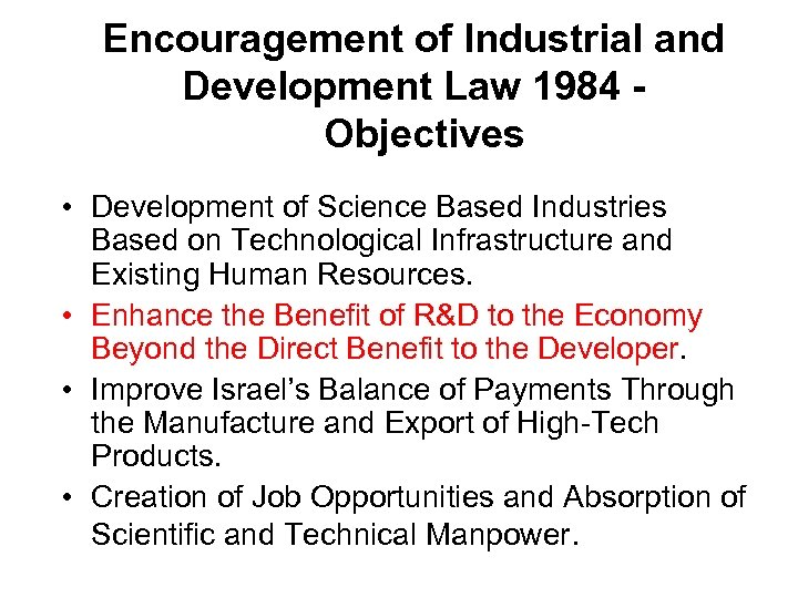 Encouragement of Industrial and Development Law 1984 Objectives • Development of Science Based Industries