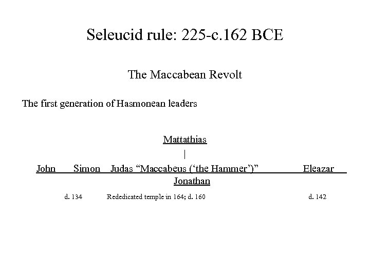 Seleucid rule: 225 -c. 162 BCE The Maccabean Revolt The first generation of Hasmonean
