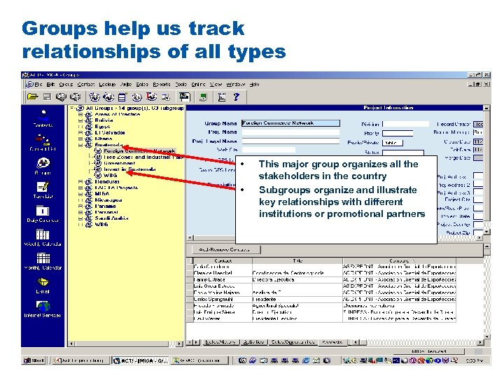 Groups help us track relationships of all types • • This major group organizes