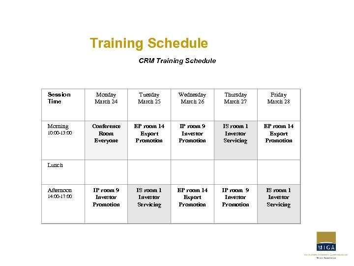 Training Schedule CRM Training Schedule Session Time Monday March 24 Tuesday March 25 Wednesday