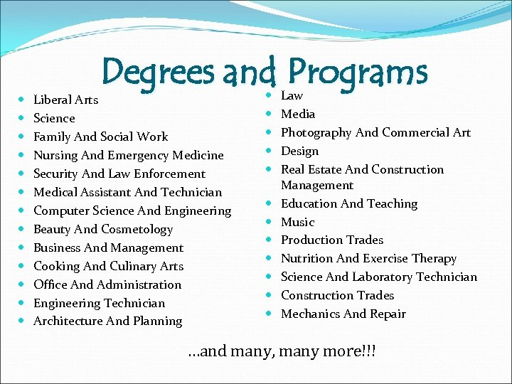 Degrees and Programs Liberal Arts Science Family And Social Work Nursing And Emergency