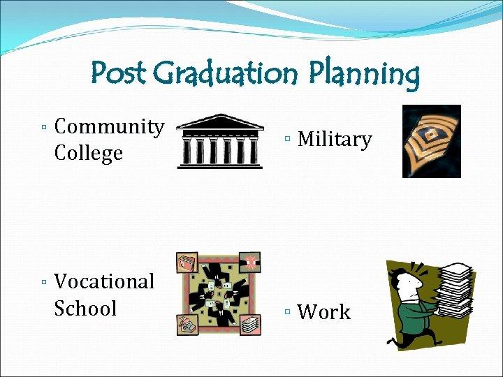 Post Graduation Planning ▫ Community College ▫ Military ▫ Vocational School ▫ Work