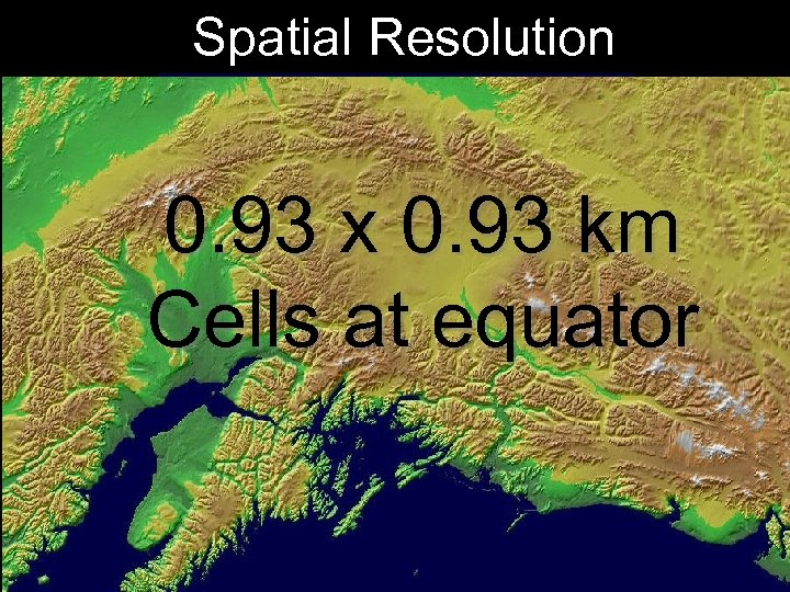 Spatial Resolution 0. 93 x 0. 93 km Cells at equator