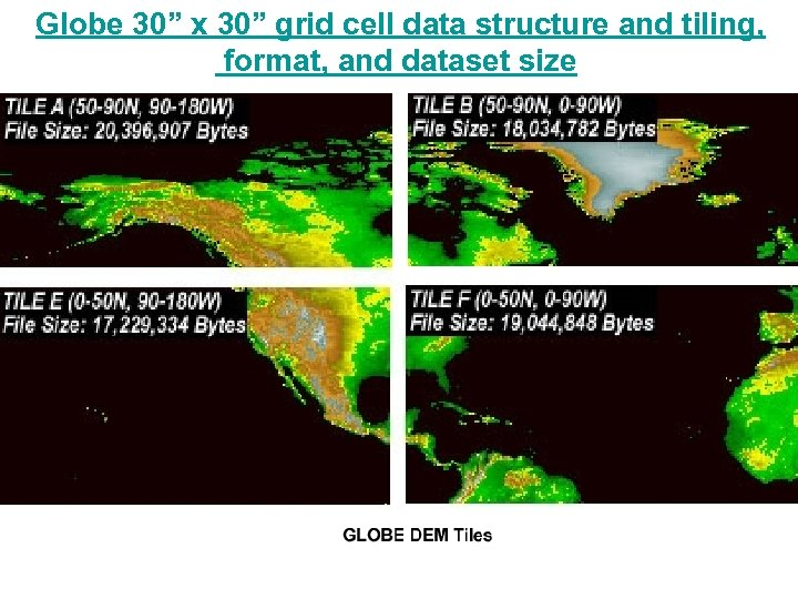"Globe 30"" x 30"" grid cell data structure and tiling, format, and dataset size"
