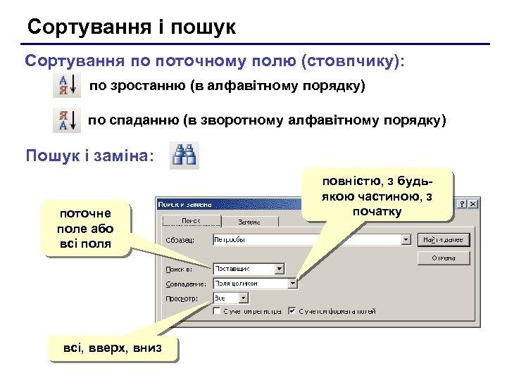 Сортування і пошук Сортування по поточному полю (стовпчику): по зростанню (в алфавітному порядку) по