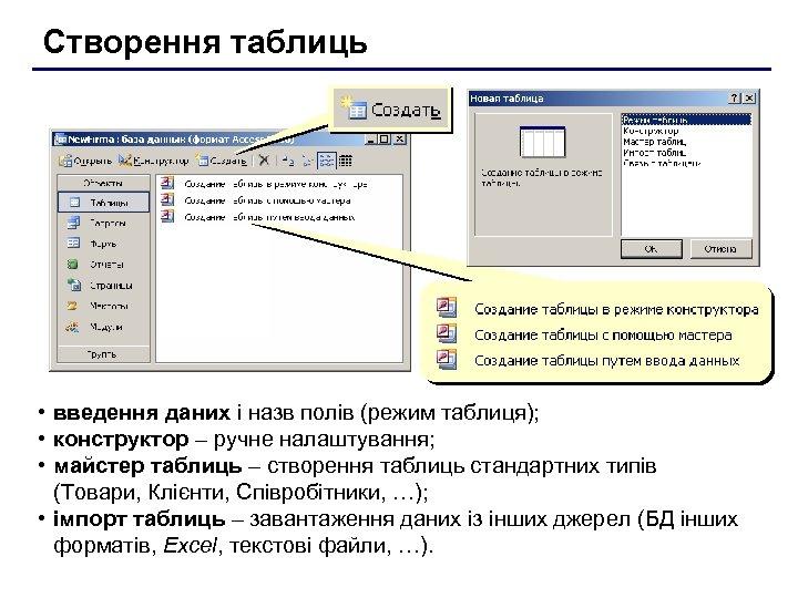 Створення таблиць • введення даних і назв полів (режим таблиця); • конструктор – ручне