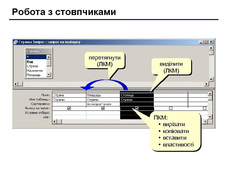Робота з стовпчиками перетягнути (ЛКМ) виділити (ЛКМ) ПКМ: • вирізати • копіювати • вставити