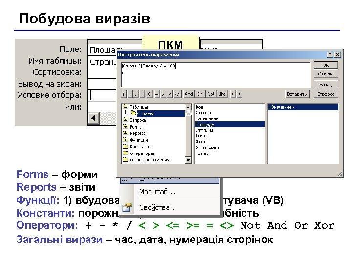 Побудова виразів ПКМ Forms – форми Reports – звіти Функції: 1) вбудовані; 2) функції