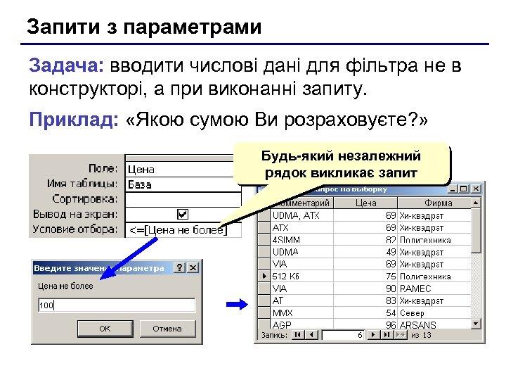 Запити з параметрами Задача: вводити числові дані для фільтра не в конструкторі, а при