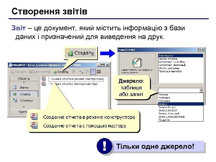 Створення звітів Звіт – це документ, який містить інформацію з бази даних і призначений