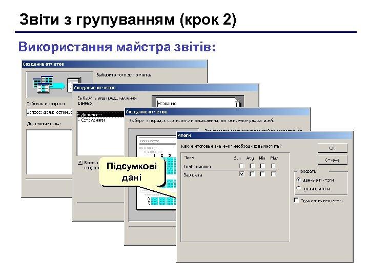Звіти з групуванням (крок 2) Використання майстра звітів: Підсумкові дані