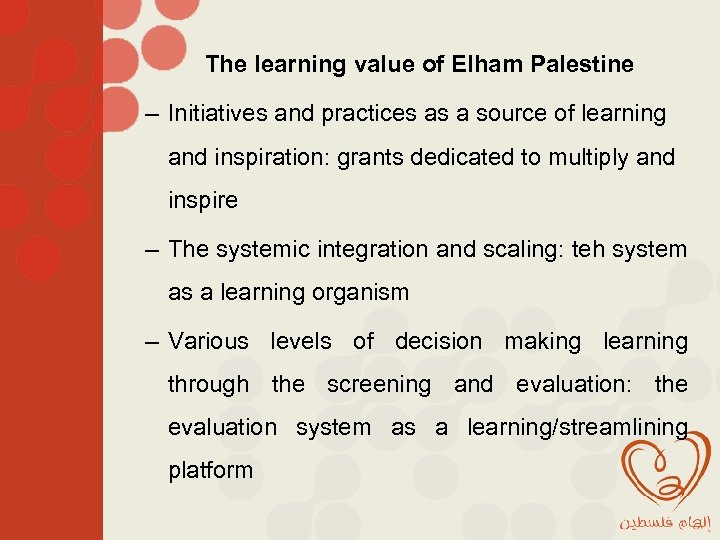 The learning value of Elham Palestine – Initiatives and practices as a source of
