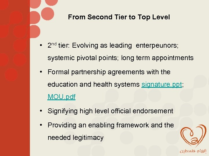 From Second Tier to Top Level • 2 nd tier: Evolving as leading enterpeunors;