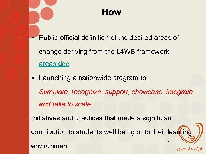 How § Public-official definition of the desired areas of change deriving from the L