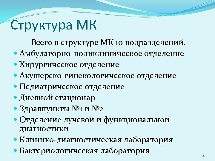 Структура МК Всего в структуре МК 10 подразделений. Амбулаторно-поликлиническое отделение Хирургическое отделение Акушерско-гинекологическое отделение