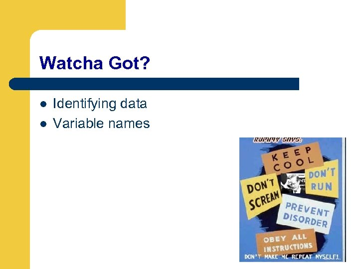 Watcha Got? l l Identifying data Variable names