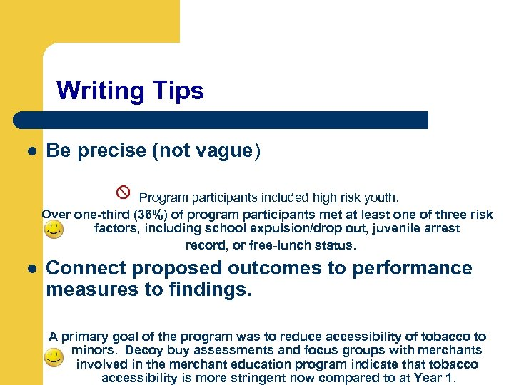 Writing Tips l Be precise (not vague) Program participants included high risk youth. Over