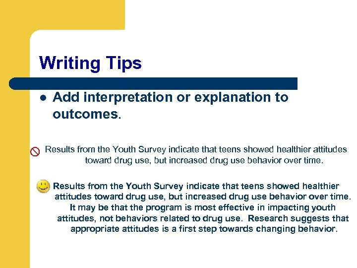 Writing Tips l Add interpretation or explanation to outcomes. Results from the Youth Survey