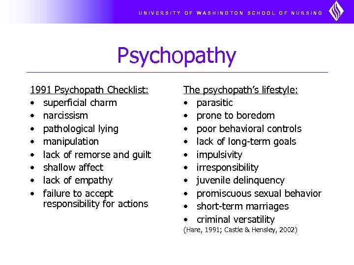 UNIVERSITY OF WASHINGTON SCHOOL OF NURSING Psychopathy 1991 Psychopath Checklist: • superficial charm •