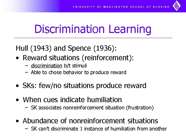 UNIVERSITY OF WASHINGTON SCHOOL OF NURSING Discrimination Learning Hull (1943) and Spence (1936): •