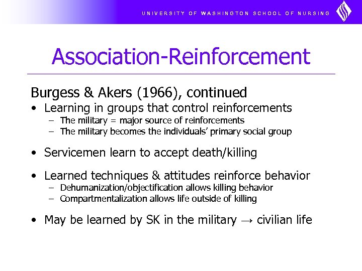 UNIVERSITY OF WASHINGTON SCHOOL OF NURSING Association-Reinforcement Burgess & Akers (1966), continued • Learning