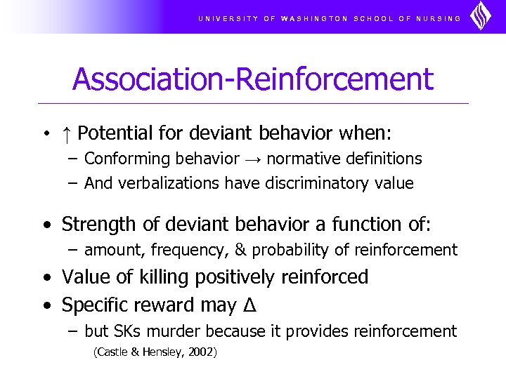 UNIVERSITY OF WASHINGTON SCHOOL OF NURSING Association-Reinforcement • ↑ Potential for deviant behavior when: