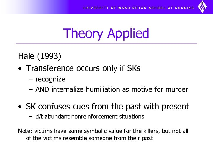 UNIVERSITY OF WASHINGTON SCHOOL OF NURSING Theory Applied Hale (1993) • Transference occurs only