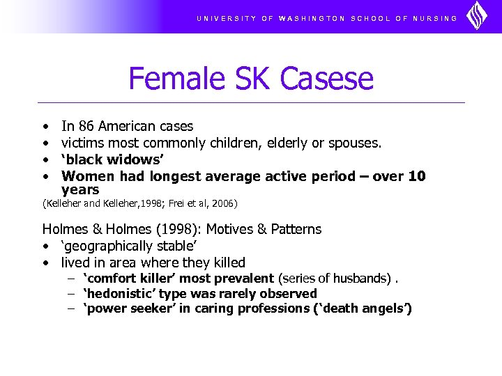 UNIVERSITY OF WASHINGTON SCHOOL OF NURSING Female SK Casese • • In 86 American