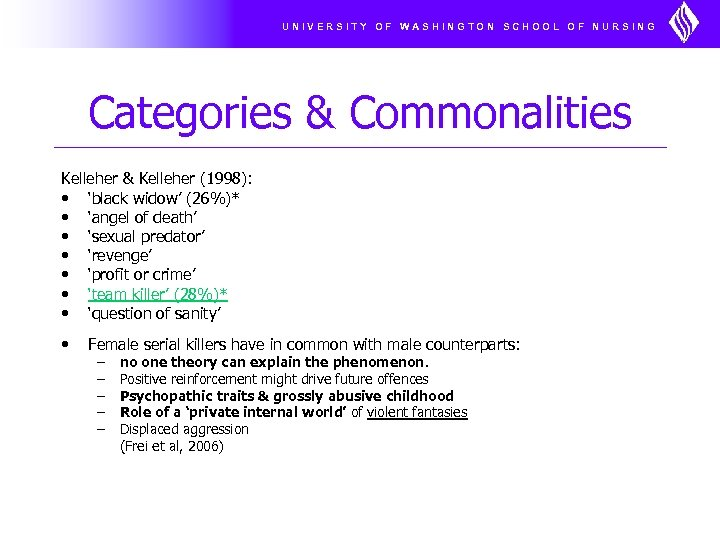 UNIVERSITY OF WASHINGTON SCHOOL OF NURSING Categories & Commonalities Kelleher & Kelleher (1998): •